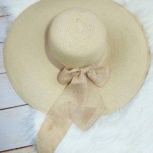 Hat straw wide tan